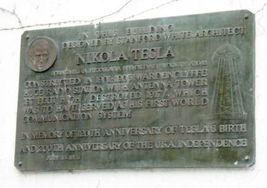 AP Photo A commutative plaque affixed to a Shoreham, N.Y. building that was once the laboratory of physicist Nicola Tesla is shown. Photo: ASSOCIATED PRESS / A2012
