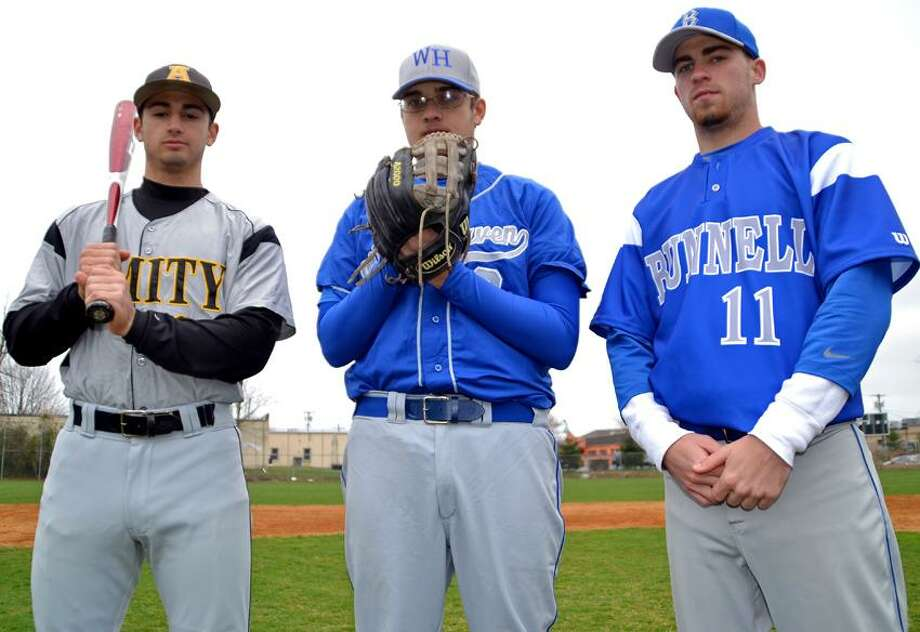 Left to right, Amity shortstop Vin Siena, West Haven pitcher John Carrano and Bunnell infielder Brandon Sheehan will be among the many who will have to adjust to the new BBCOR bats this season. Photo by Sean Meenaghan/Register