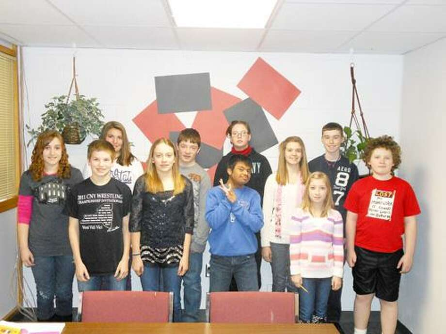 Photo Courtesy VERNON-VERONA-SHERRILL MIDDLE SCHOOL The students pictured were selected as Vernon-Verona-Sherrill's Middle School February Students of the Month. They are: front row from left: Makayla Rood, daughter of Robert and Melissa Rood of Durhamville; Seth Brewster, son of Michael and Marissa Brewster of Oneida; Kelsea Bates, daughter of Charles Bates of Vernon; Ohm Patel, son of Girish and Kalpana Patel of Barneveld; Brynn Richer, daughter of Kippen and Mary Richer of Verona; Sean Duff, son of Dawn Amankwaa of Verona. Back row from left: Jessica Ziarko, daughter of Paul and Kathy Ziarko of Sherrill; Max Carver, son of Donald and Shawn Carver of Sherrill; Elizabeth Murphy, daughter of James Murphy and Michelle Murphy of Canastota; Kaitlynn Platt, daughter of Shawn and Kimberly Platt of Rome; and Connor Vandreason, son of Barry and Bonnie Vandreason of Sherrill.