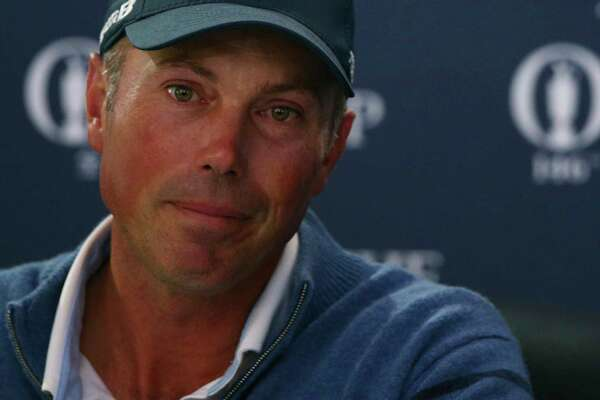 Runner up Matt Kuchar of the United States speaks during a press conference after the British Open Golf Championship, at Royal Birkdale, Southport, England, Sunday July 23, 2017. (AP Photo/Dave Thompson) ORG XMIT: RBD263