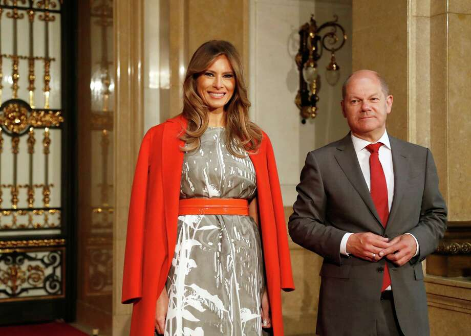 HAMBURG, GERMANY - JULY 08: First Mayor of Hamburg Olaf Scholz welcomes Melania Trump (L), wife of US President Donald Trump, prior to the partner program of G20 summit on the second day of the G20 summit on July 8, 2017 in Hamburg, Germany. Leaders of the G20 group of nations are meeting for the July 7-8 summit. Topics high on the agenda for the summit include climate policy and development programs for African economies.  (Photo by Friedemann Vogel - Pool/Getty Images) ORG XMIT: 775004210 Photo: Pool / 2017 Getty Images