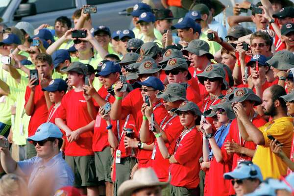 Scouts and their leaders listen to President Donald Trump at the 2017 National Boy Scout Jamboree at the Summit in Glen Jean, W.Va., Monday, July 24, 2017. (AP Photo/Steve Helber) ORG XMIT: WVSH111