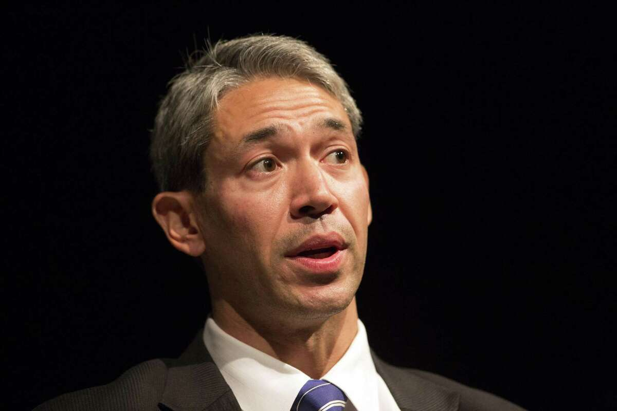 In front of a friendly audience of about 250 Thursday in the Buena Vista Theater at the downtown campus of the University of Texas at San Antonio, Mayor Ron Nirenberg addresses the questions presented by moderator Francine S. Romero, associate dean for the university's college of public policy.