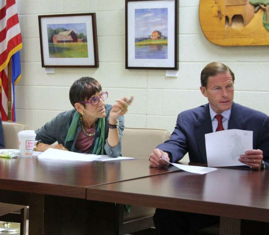 U.S. Reps. Rosa DeLauro, D-3, left, (and Chris Murphy, D-5, not pictured) and Sen. Richard Blumenthal met at Oxford Town Hall with top  officials from several towns, including Derby, Seymour, Oxford and Stratford to discuss flood damage relief Friday. Jean Falbo-Sosnovich/For the Register