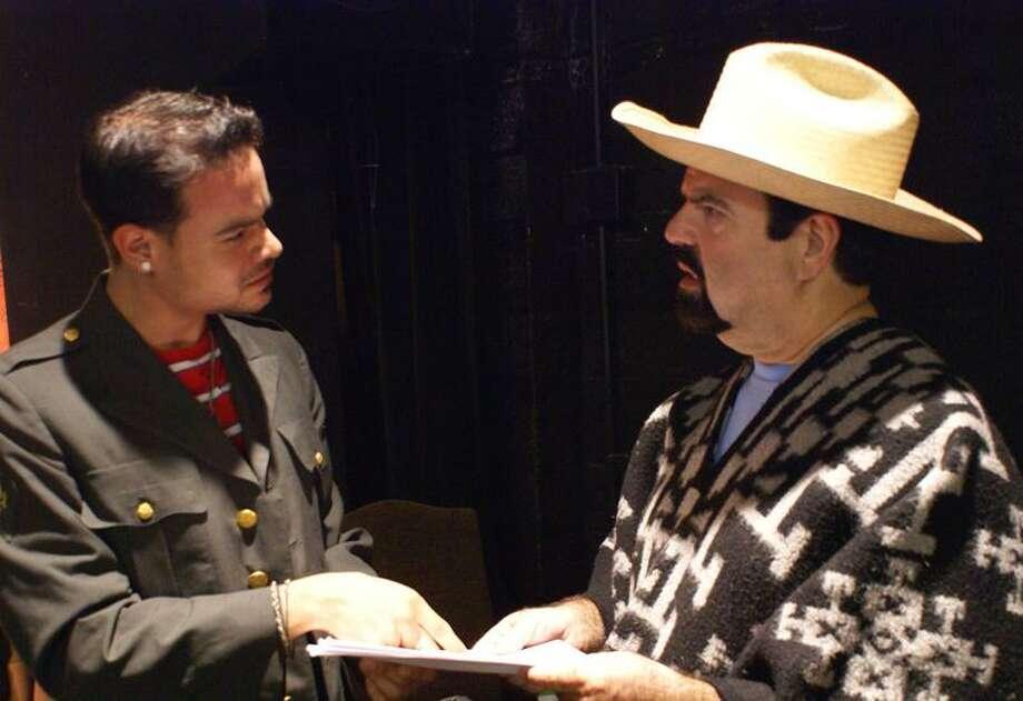 """Rafael Garbalosa, left, and Jaylee Jordan, in a scene from """"A Peasant of El Salvador."""""""
