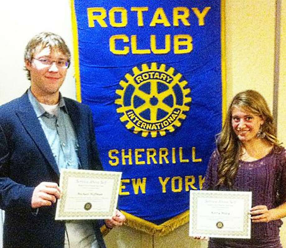 Photo Courtesy SHERRILL ROTARY CLUB Vernon-Verona-Sherrill seniors Michael Hoffman and Kerry Miley accept their November Rotary Students of the Month awards at the Sherrill Rotary meeting Nov. 9.