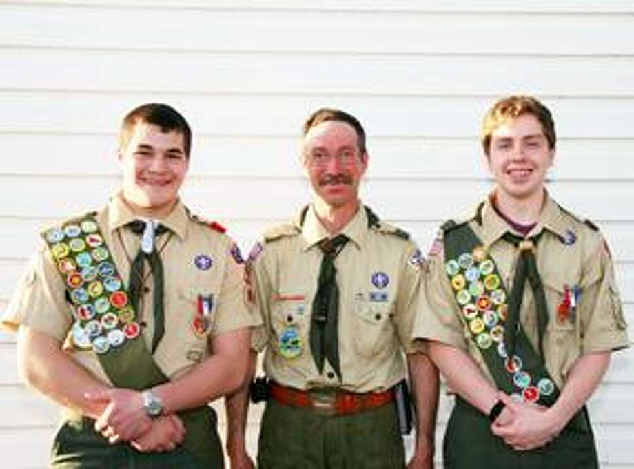 Submitted Photo Pictured in the photo are Matthew Rose, Scout Master Tim Wimmer and Connor McDonald.