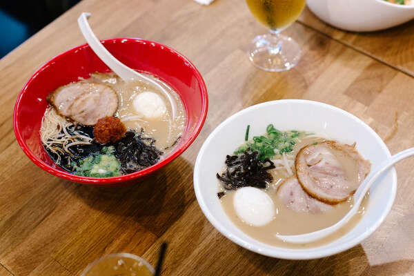 Two bowls of ramen —Akamaru Modern (left) and Shiromaru Classic — at Ippudo in Berkeley.