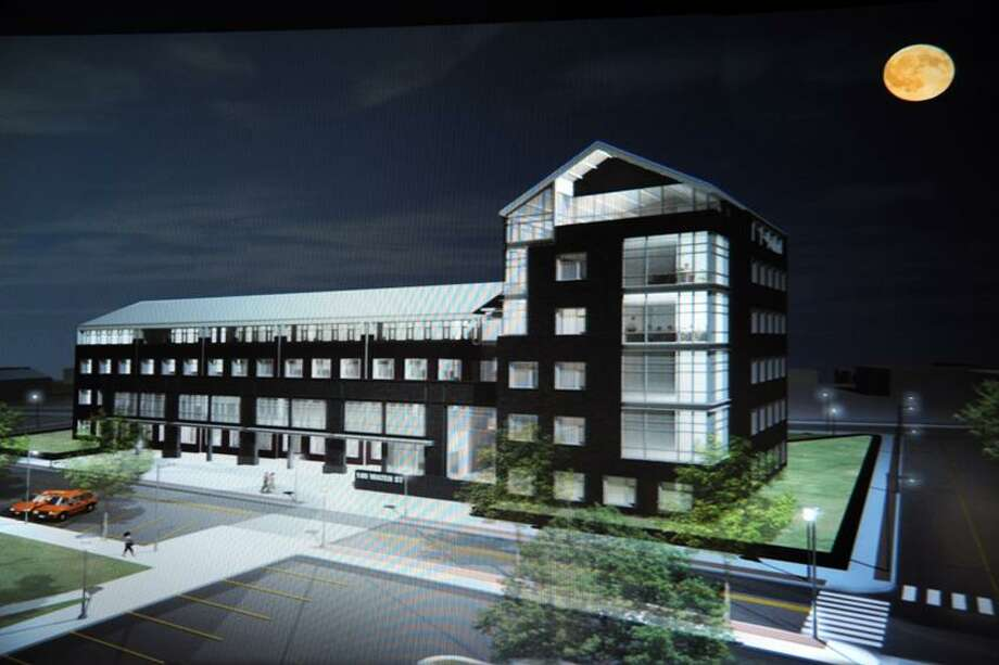 An artist rendering of a six-story high-rise at 105 Water St. in West Haven, which will house several dozen businesses, including Bilco Co. headquarters. (Contributed photo)