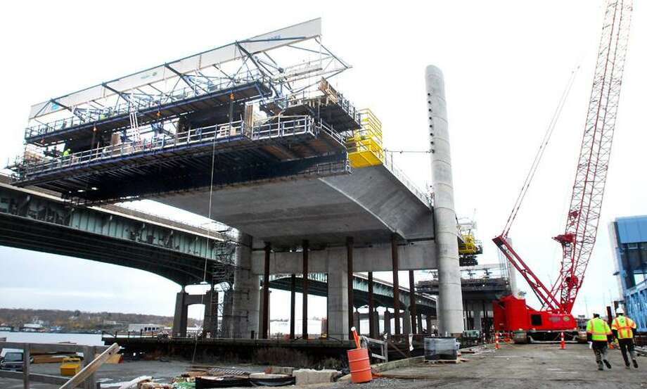 Cables are being installed on the northbound section of the Pearl Harbor Memorial Bridge in New Haven on 11/17/2011.Photo by Arnold Gold/New Haven Register   AG0430E