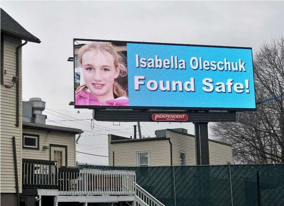 A billboard in New Haven proclaimed the good news after Isabella was found. Brad Horrigan/Register.