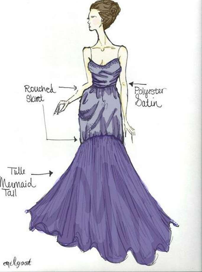 "Photo Courtesy of EMILY OOT Stockbridge Valley Central School senior Emily Oot, 17, has submitted this dress design to the ""Adrianna Papell for E! Live from the Red Carpet Design Contest"" on the Internet, and it might earn her a trip to the Academy awards in Hollywood. Voters are welcome to log on once every day to help support her effort."