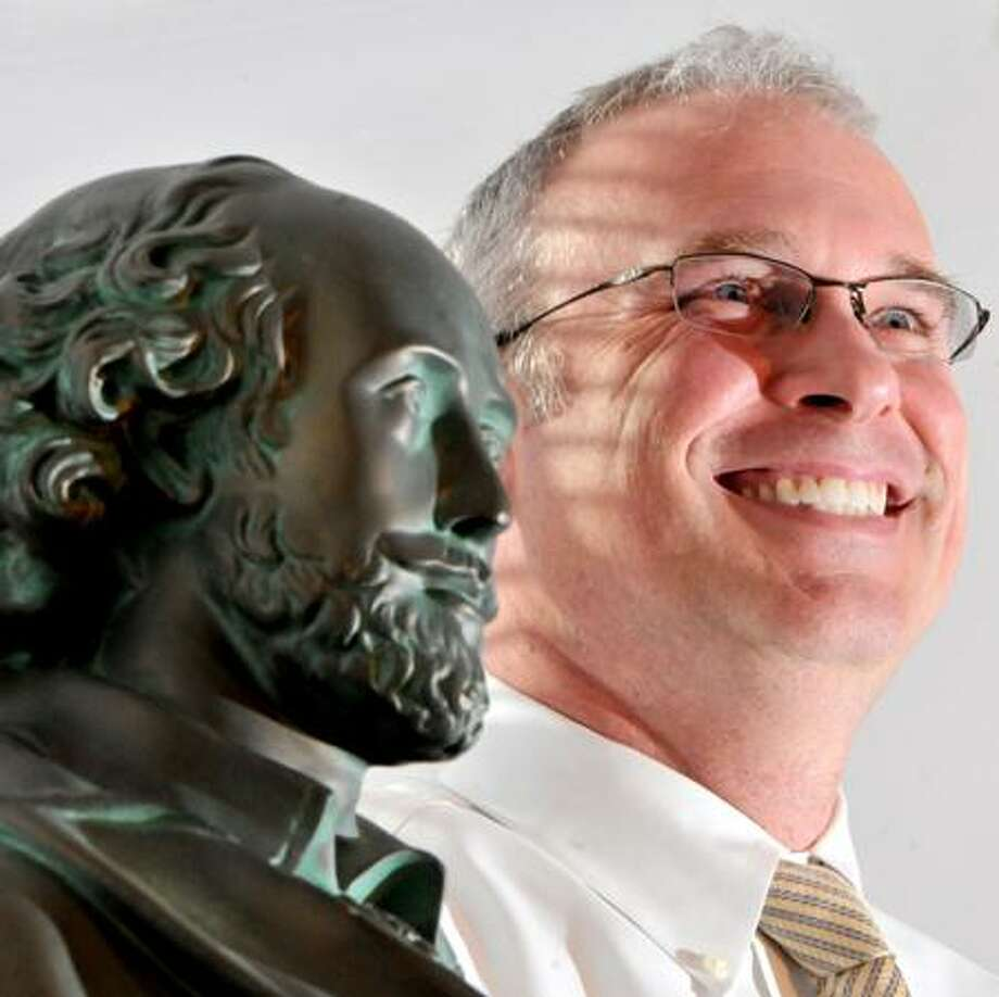 Paul Freeman, new Guilford superintendent of schools, in his office with a bust of William Shakespeare 11/21/11. Peter Hvizdak/New Haven Register