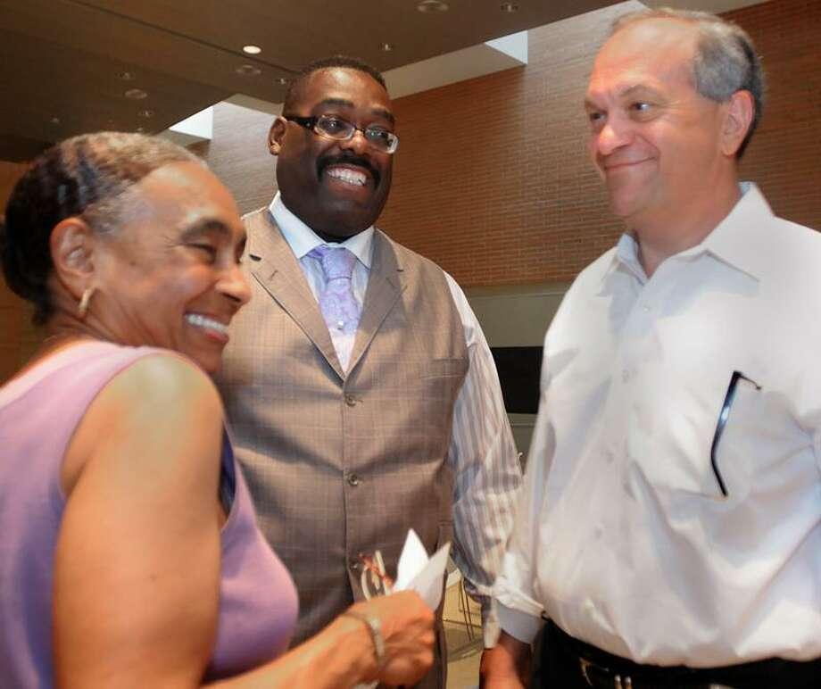New Haven Mayor John DeStefano shares a moment with alderwoman Andrea Jackson Brooks after he received the Democratic nomination for mayor. Melanie Stengel/Register