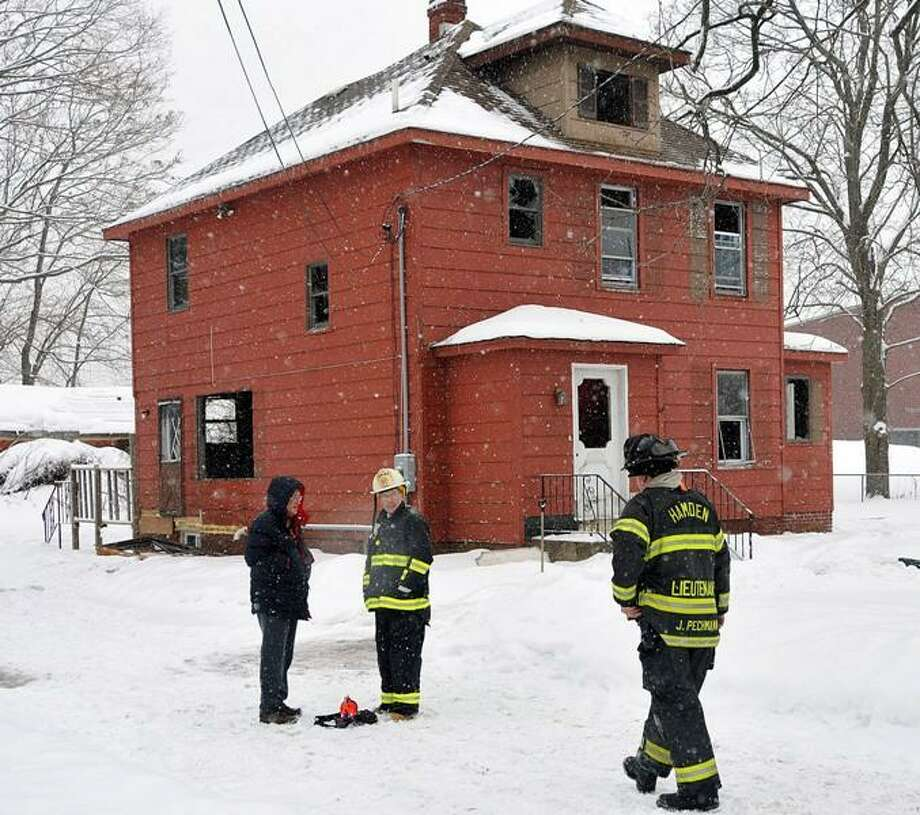 Hamden firefighters on the scene. Peter Casolino/Register