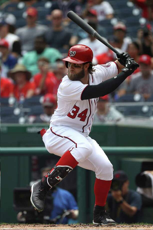WASHINGTON, DC - JULY 27: Bryce Harper #34 of the Washington Nationals hits a home run during the first inning against the Milwaukee Brewers at Nationals Park on July 27, 2017 in Washington, DC. (Photo by Patrick Smith/Getty Images) ORG XMIT: 700011774 Photo: Patrick Smith / 2017 Getty Images