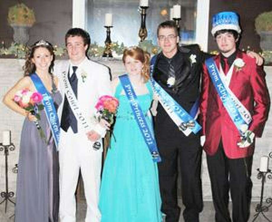 Photo Courtesy CANASTOTA HIGH SCHOOL From left to right in this photo: Prom Queen, Amy Eisenhut; Prom Prince (tie), James Mason; Prom Princess, Mackenzie Kutzuba; Prom Prince, (tie) Greg Zupan and Prom King, Jarret Nadreau.