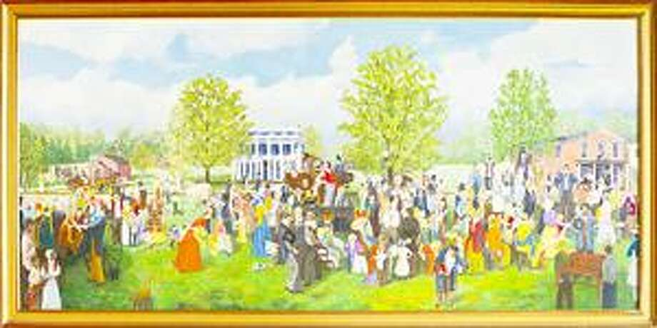 SUBMITTED PHOTO The public is invited to the Smithfield Community Center in Peterboro to view Hugh Humphreys' new painting Come Join the Abolitionists and to hear the artist's description of the anti-slavery meeting on the green in Peterboro in 1850.