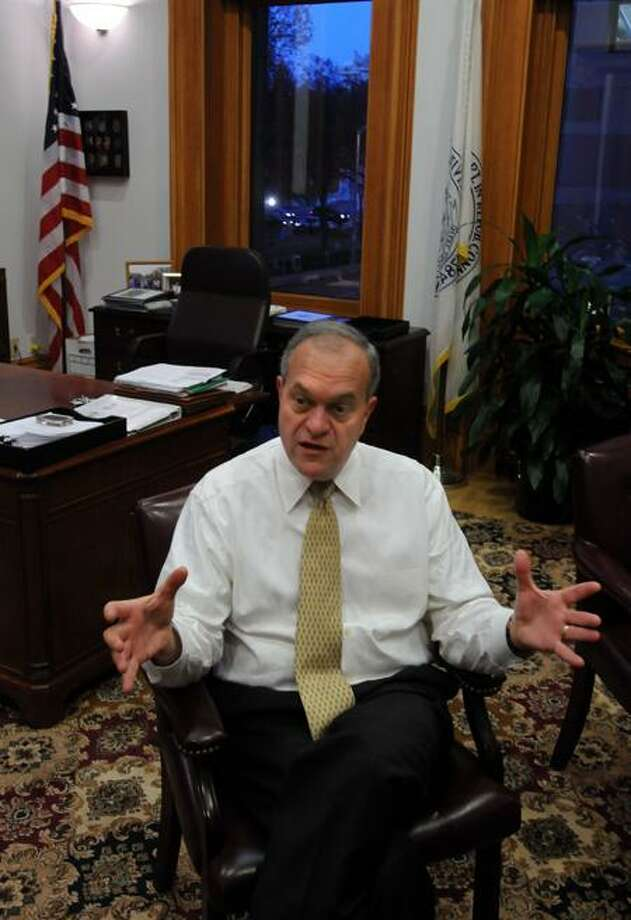New Haven Mayor John DeStefano, Jr. in his office in City Hall during an interview with the Register. Photo by Mara Lavitt/New Haven Register11/9/11