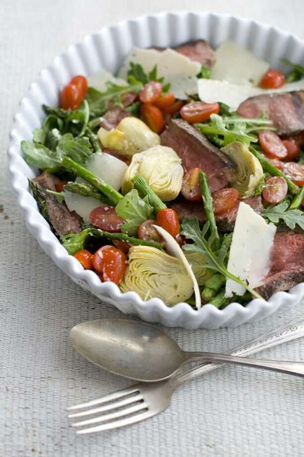 Matthew Mead/Associated Press photo: Grilled Steak and Spring Vegetable Salad Photo: AP / ap
