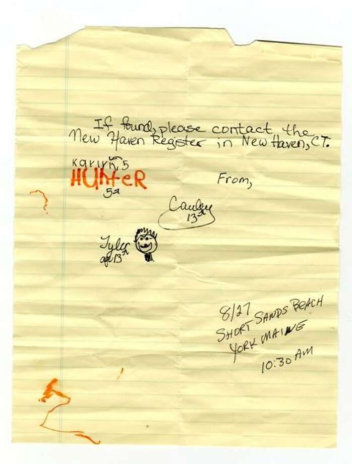 This note was found in a bottle found on a beach in York, Maine. Do you know who these note writers are?