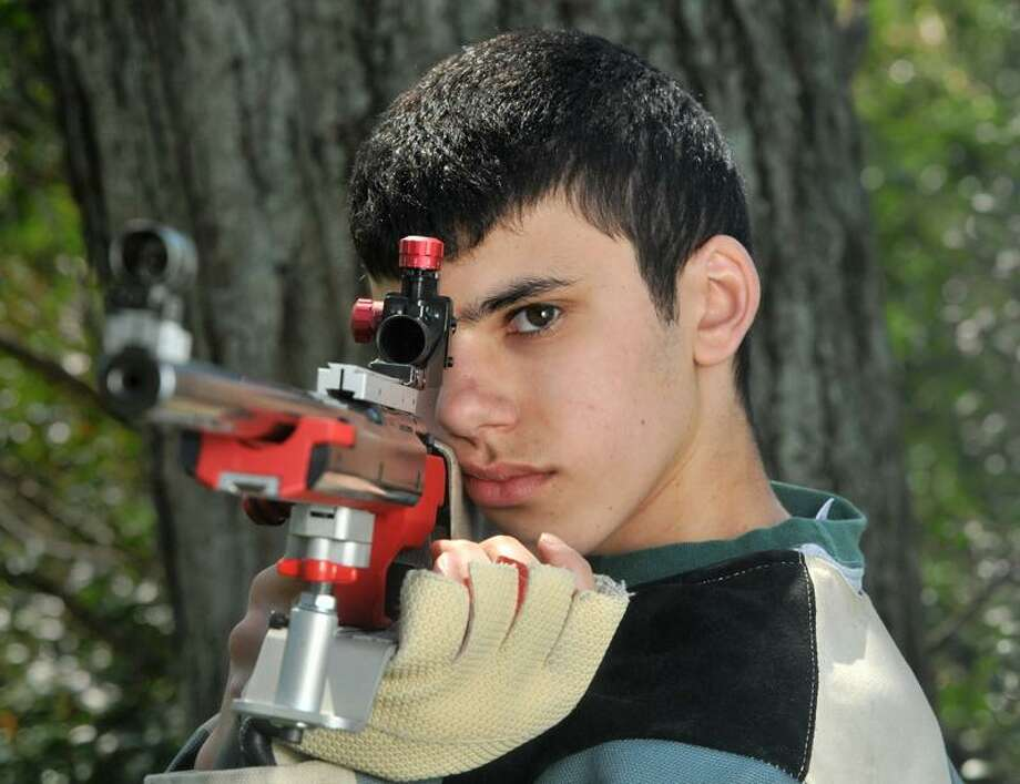 Anthony Cuozzo, 15, is one of the top rifle marksman in his age group in Connecticut. (Brad Horrigan/New Haven Register)