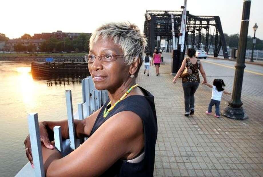 Ward 13 Alderwoman-elect Brenda Jones Barnes is photographed at the Grand Avenue Bridge in New Haven Wednesday. Arnold Gold/Register
