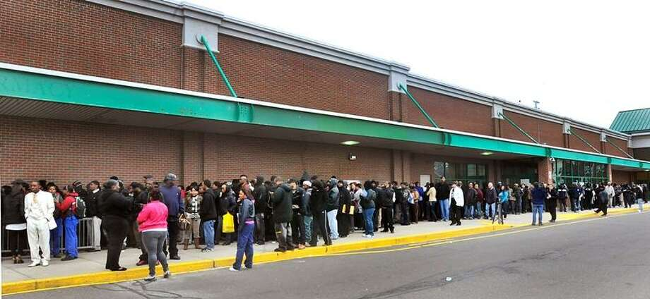 The line for interviews Monday for about 150 jobs at the soon-to-open Stop & Shop on Whalley Avenue extended the length of the building.