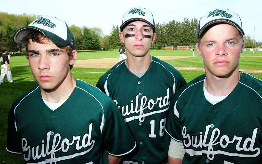 Guilford baseball captains (left to right) Jake Battipaglia, Mike Juliano and Chris Stockmann. Arnold Gold/New Haven Register