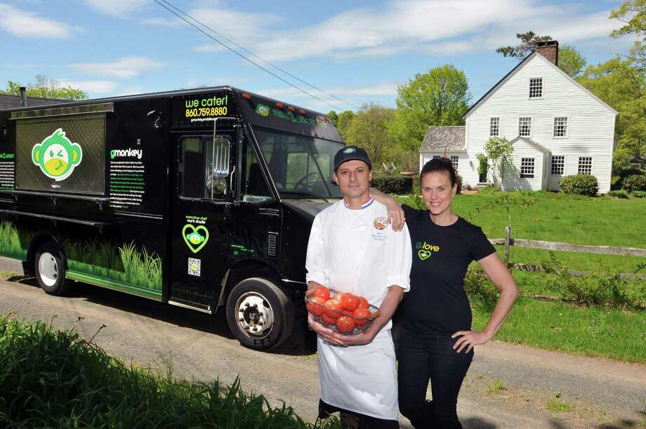 Mark and Ami Shadle, owners of Shadle Farms in Durham,operate the vegan food truck called G Monkey. (Photo by Peter Casolino/New Haven Register) Photo: Peter Casolino, New Haven Register