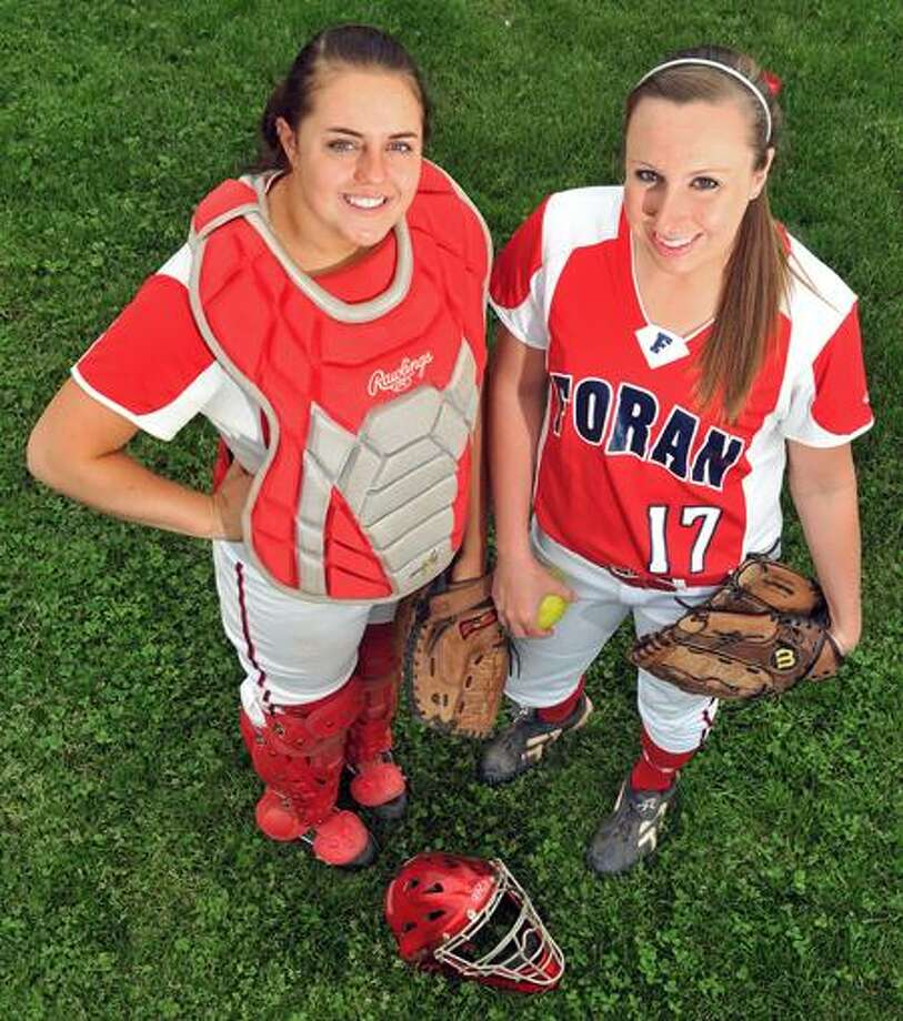 Milford--Foran battery of Rachel Booth and Taylor Harkness.  Photo by Brad Horrigan/New Haven Register.  05.14.11.