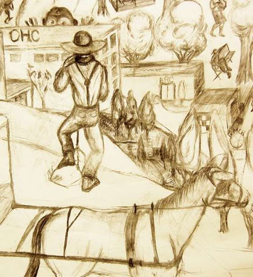Detail from section of Hendry's sketch for mural