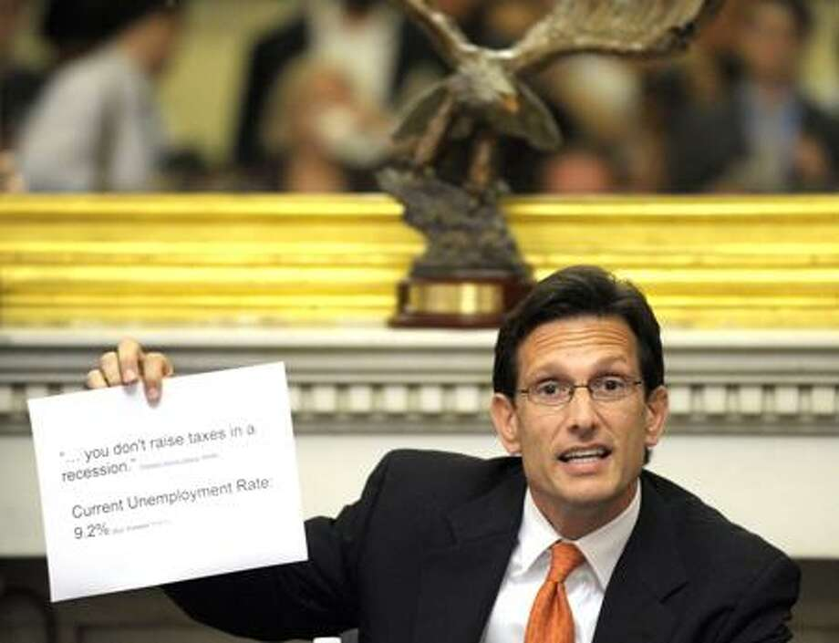 House Majority Leader Eric Cantor of Virginia speaks to reporters on Capitol Hill Monday as debt talks continued. Associated Press Photo: AP / AP