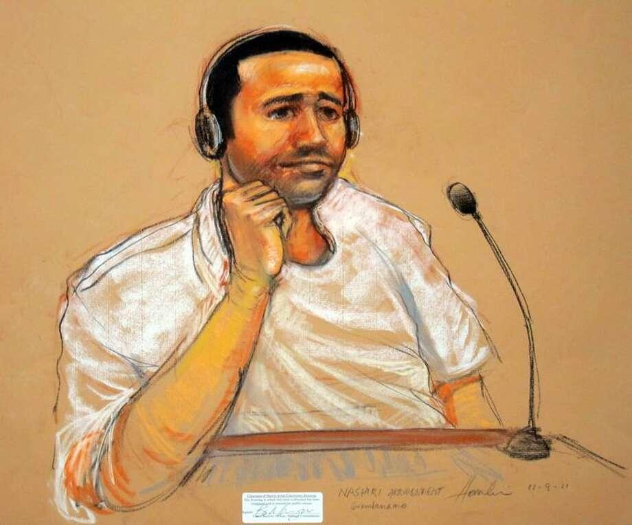 An artist's rendering shows Abd al-Rahim al-Nashiri at his arraignment Wednesday. Associated Press