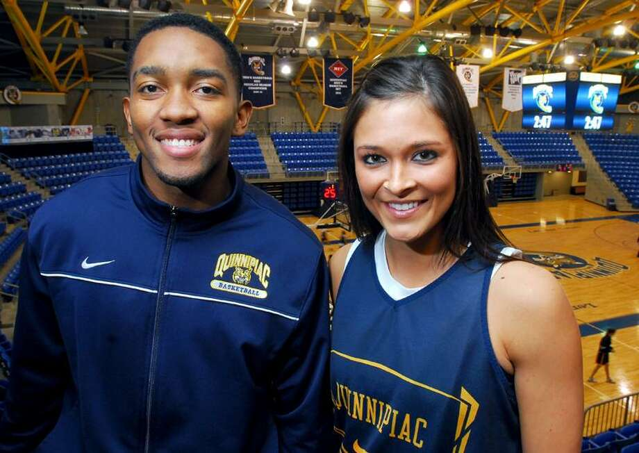 Quinnipiac University basketball players James Johnson and Keri Goodchild photographed at the TD Bank Sports Center in Hamden on 11/9/2011.Photo by Arnold Gold/New Haven Register    AG0429F