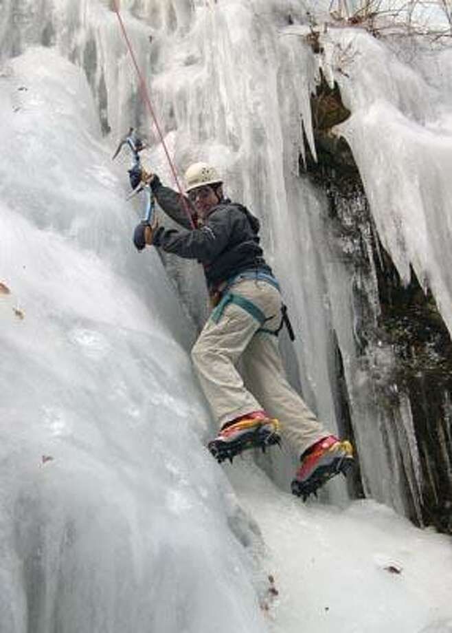 New Haven Parks, Recreation & Trees photo, Learn all about using ropes, harness, boots, cram­pons and axes when ice climbing at an upcoming New Haven Parks, Recreation & Trees program. See Nature Calendar for details.