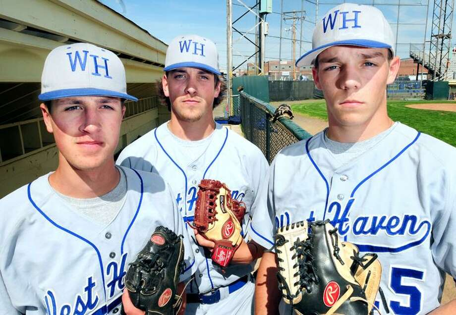 West Haven High School pitchers, from left, Bobby Moretti, Jeremy Soule and Eric Stone (Photo by Arnold Gold/Register)