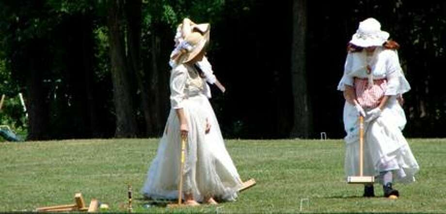 Photo Courtesy Gerrit Smith Estate Young maids dressed in period costumes enjoy the 2010 Family Day of Croquet in Peterboro.