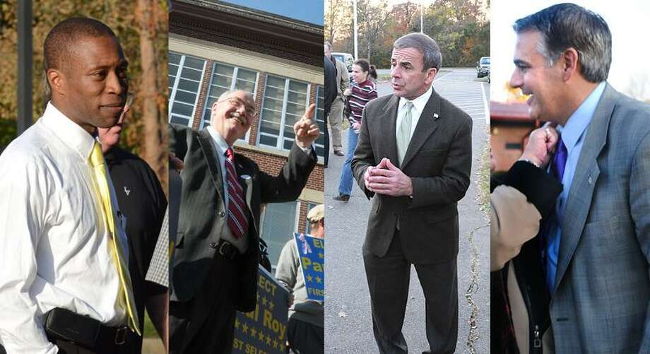 Incumbents Scott Jackson of Hamden, Paul Roy of Seymour, Michael Freda of North Haven and John Picard of West Haven campaigned for votes Tuesday. / PETER HVIZDAK