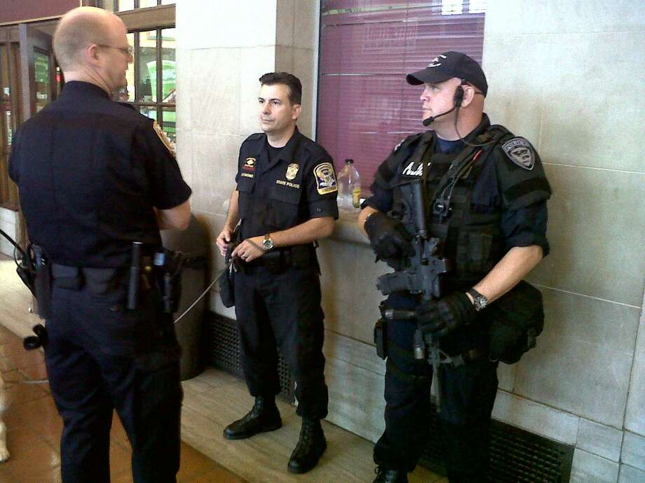 The police presence was increased at New Haven's Union Station  Photo by William Kaempffer
