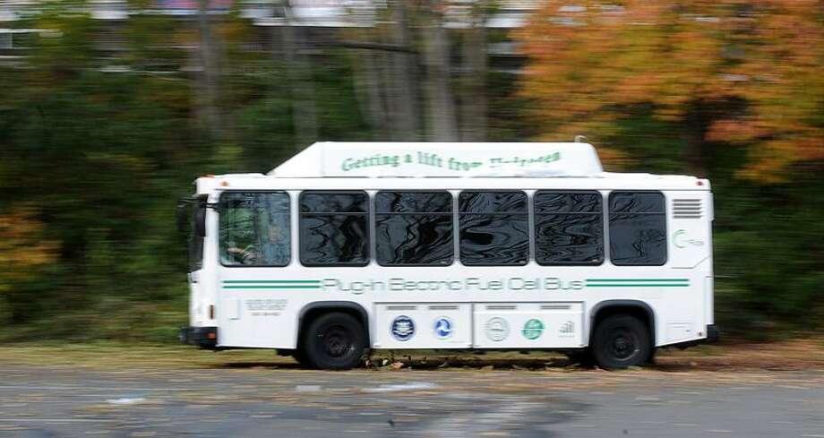 Hamden--The new hydrogen powered Dial-A-Ride bus for seniors in Hamden.  Peter Casolino/New Haven Register10/31/11