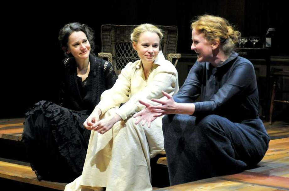 "Natalia Payne (Masha), left, Heather Wood (Irina) and Wendy Rich Stetson (Olga) play the title characters in Sarah Ruhl's new adaptation of ""Three Sisters"" in the Yale Rep presentation at University Theatre."