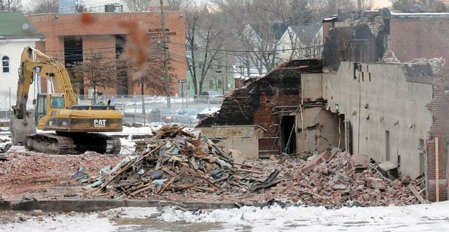 Demolition has begun in the back on the Forest Theater in West Haven. Photo by Mara Lavitt/New Haven Register1/11/11