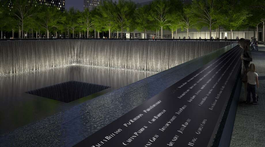 The names of all victims of 9/11, from New York, Washington and Pennsylvania, plus six victims of the 1993 attack on the World Trade Center, are inscribed around the pools at the National September 11 Memorial, which will open Sunday. (Photo courtesy of the National September 11 Memorial)