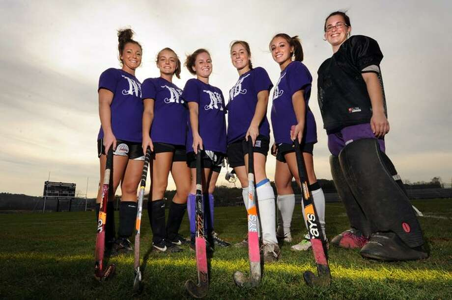Meagan Halligan, Lindsay Doebrick, Baliey McGinnis, Emilee Maher, Danielle Hottin and Kaeley DeNegre seniors fromt he North Branford field hockey team pose for a picture. vmWilliams 11.03.11