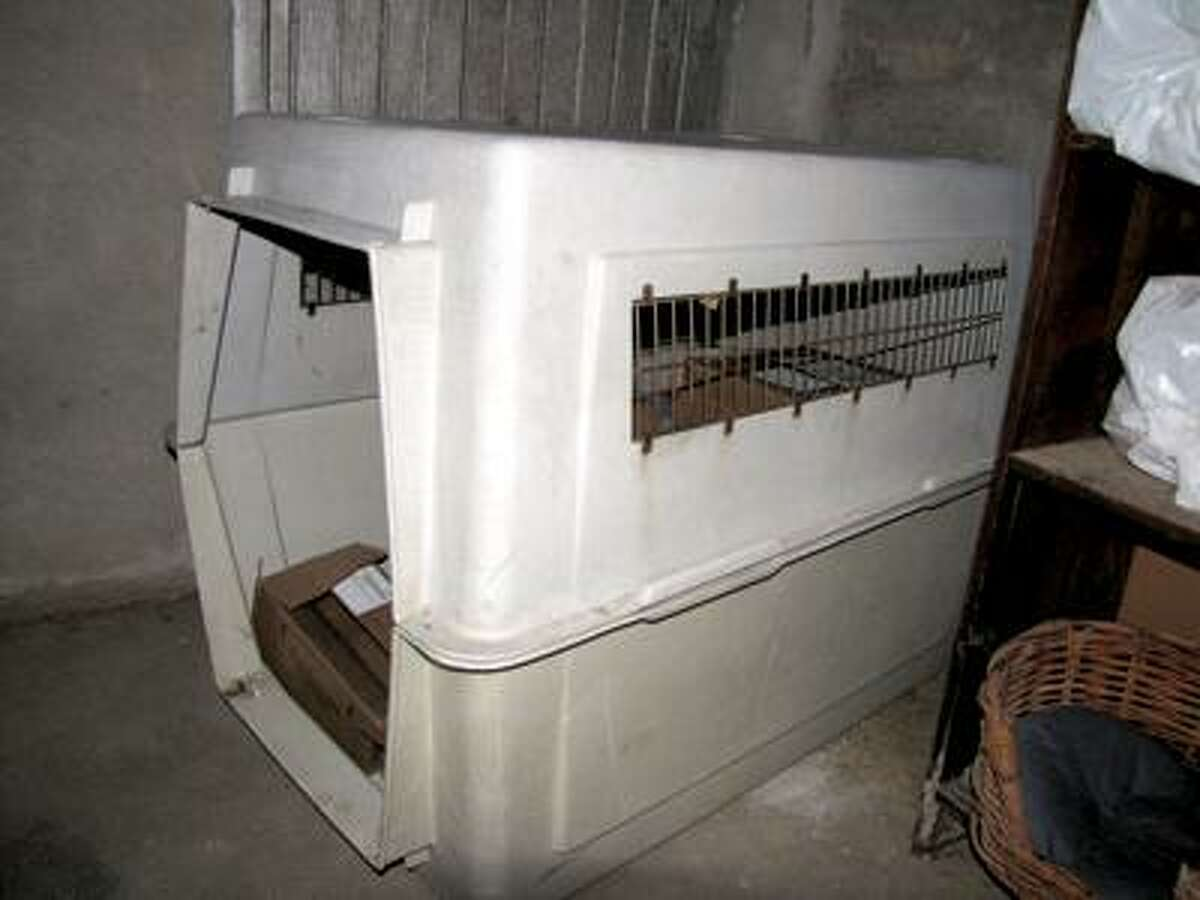 The dog crate seized by police.