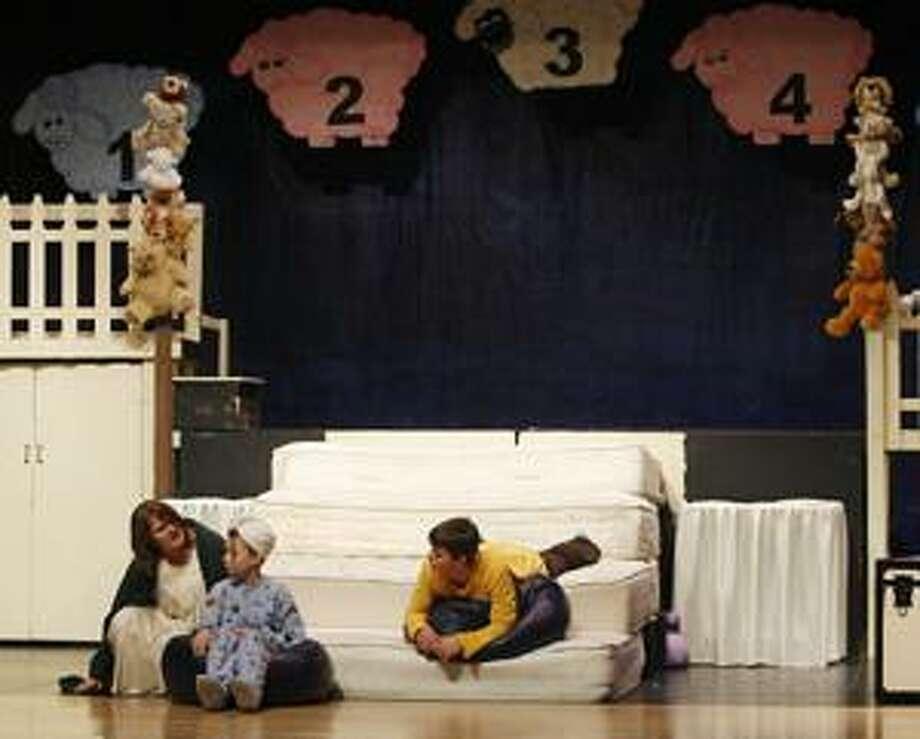"Photo by JOHN HAEGER Hannah Pegg, Rachel Nunneker and Garrett Loomis rehearse a scene form the OSMS production of ""Once Upon a Mattress"" on Tuesday, Jan. 11, 2011."