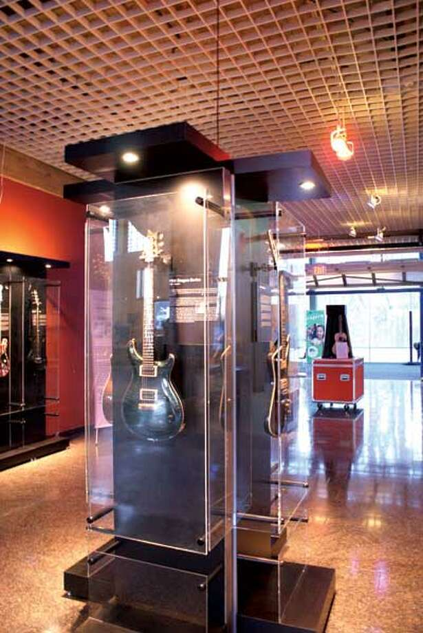 More than 40 guitars are part of National Guitar Museum showing at the Discovery Museum in Bridgeport. (Photo courtesy Harvey Newquist)
