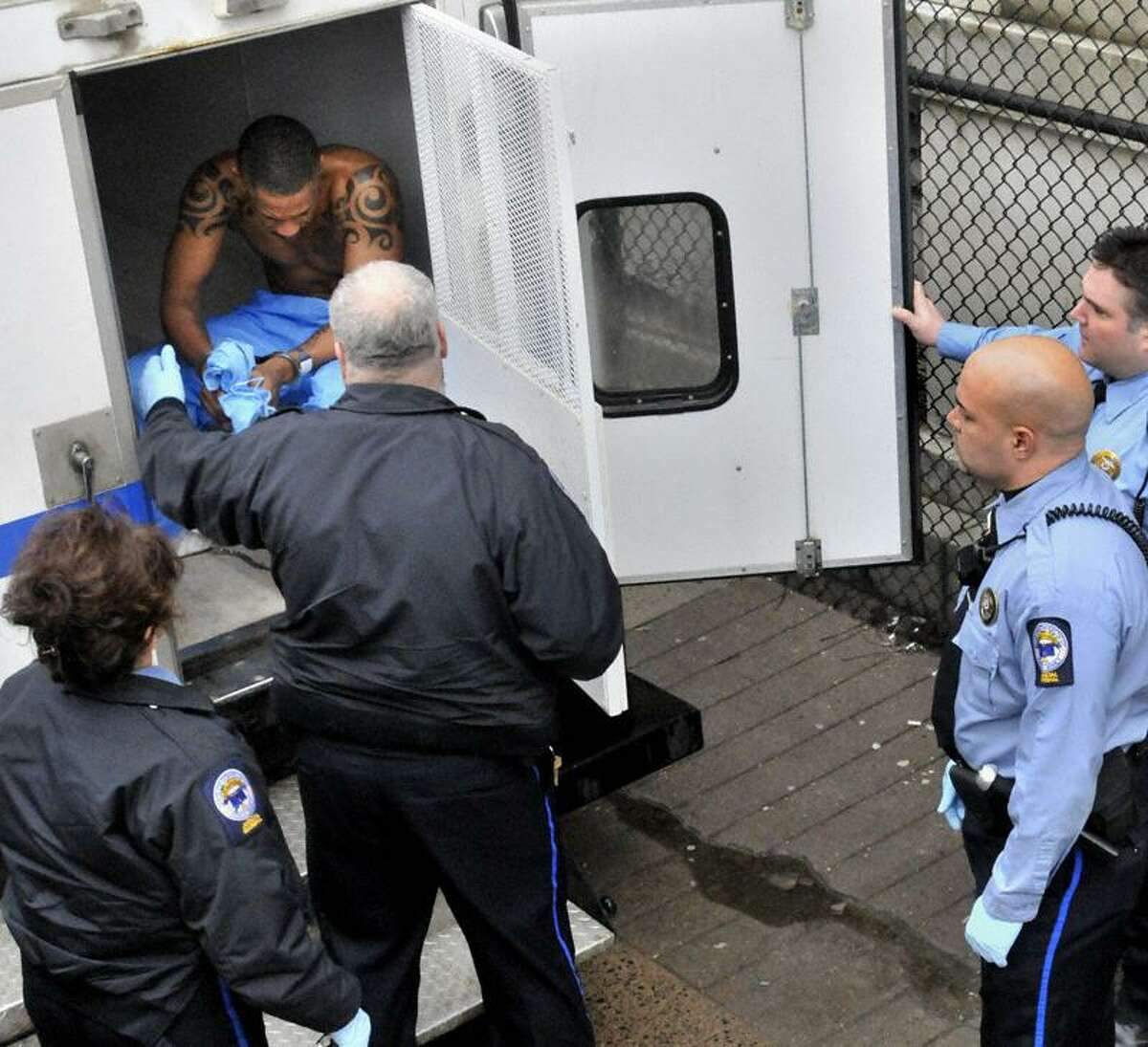 New Haven East Coast Rapist suspect arrives at Superior Court Monday. Melanie Stengel/Register