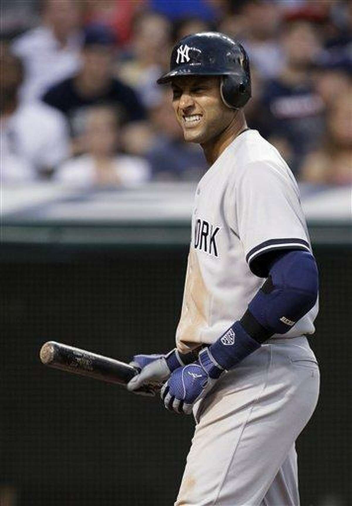 The Yankees' Derek Jeter doubled for his 2,997th hit, but the Yankees fell to the Indians 5-3. (AP Photo)